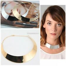 New Metal Chic Punk Style Curved Mirrored Choker Polished Bib Slim Necklace FT