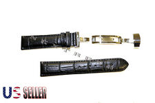 HQ Alligator Black Genuine Leather Watch Band+Butterfly Deployant Clasp Buckle
