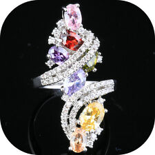 Multi-color Morganite Topaz Gemstones Silver Party Rings US# Size 6 7 8 9 T0919