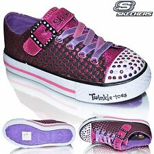 Girls Skechers Twinkle Toes SHUFFLES-MYSTICAL Velcro Shoes Casual Trainers Pumps