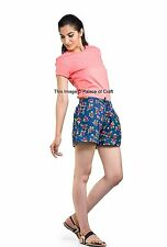 Indian Short Pants Floral Print Casual Summer Wear Cotton Shorts Elastic Waist