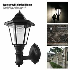 Solar Power LED Wall Light Way Landscape Mount Garden Fence Lamp Sconce Outdoor