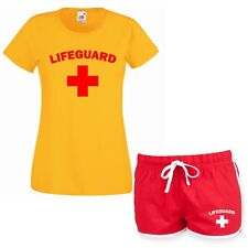 LIFEGUARD Ladies Yellow T Shirt & Red Shorts Fancy Dress Costume Outfit Set Girl