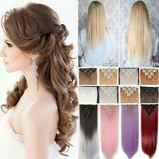 AU Real Thick 18 Clips Clip in Full Head Hair Extensions Brown Blonde 8Pcs FSS