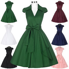 Retro 50's Pinup Women Cap Sleeve Party Swing Wiggle Picnic Cocktail Dress