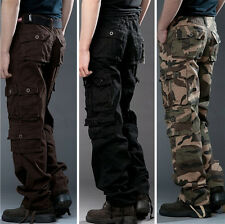New Mens Casual Military Army Cargo Loose Pants Camo Combat Work Pants Trousers
