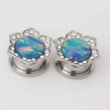New Pair Steel Enamel Gem Flower Flesh Ear Tunnel Plug Expander Gauge Piercings