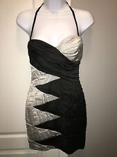 Bebe Sexy Strapless Sweetheart Colorblock Black Silver Bodycon Dress Size XS