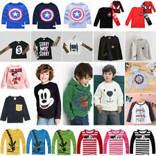 Kids Boys Girls Long Sleeve Pullover Shirt Jumper Tops Blouse T-shirt Sweatshirt