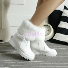 Womens Fur cuffed HIdden Wedge Heel Faux Leather Winter Snow Bow Boots Plus Size
