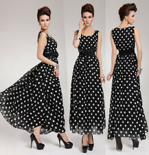 Ladies Sleeveless Polka Dot Maxi Long Dress Evening Formal Party Chiffon Dresses