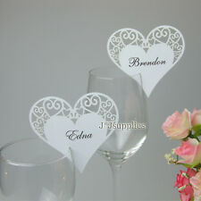 Love Heart Name Place cards for Wine Glass Card wedding bomboniere Favors