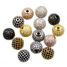 AAA Zircon Gemstones Pave Round Ball Bracelet Connector Charm Fitting Beads