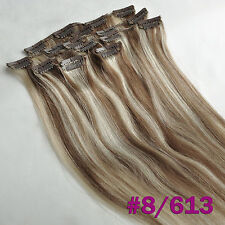 Deluxe Thick Virgin Clip In 100%Real Human Hair Extensions Mix Blonde 170g 8pcs