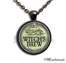 Glass Dome Bezel Pendant + Necklace Apothecary Potion Medicine Gothic Witch Brew