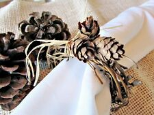 Fall / Winter Pine Cone Grapevine Napkin Rings for Thanksgiving Christmas Table