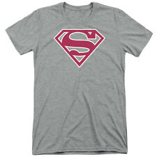 Superman Red & White Shield Mens Tri-Blend Short Sleeve Shirt