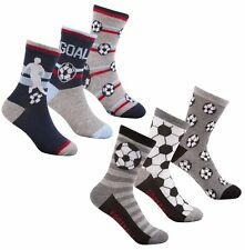 3 PAIRS BOYS FOOTBALL SOCKS 6-8.5/9-12/12.5-3.5 GREY/NAVY/BLUE/WHITE COTTON RICH