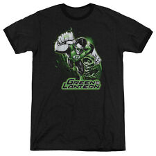 Justice League Green Lantern Green & Gray Mens Adult Heather Ringer Shirt