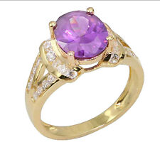 Gold-Plated-Sterling Silver Violet Oval Simulated Amethyst Women's Wedding Ring