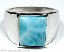 10x11mm Authentic AAA Genuine Dominican Larimar 925 Sterling Silver Ring Sz 7.5