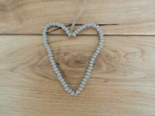Gisela Graham Shabby Chic Wooden Hanging Bead Heart Grey Wedding Gift