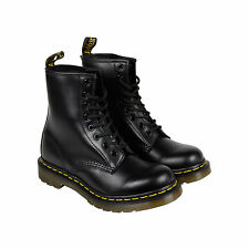 Dr. Martens 1460 8-Eye Womens Black Leather Casual Dress Lace Up Boots Shoes