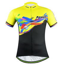 Aogda Men's Cycling Jersey Bike Bicycle Cycle MTB Jersey Shirts Top Black-Yellow