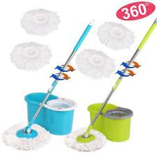 360° Floor Magic Spin Mop Bucket Set Microfiber Rotating Dry Heads 2 Mop Heads