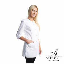 Lab Coat Medical White Womens  Stylish Nurse Scrubs Top Doctor Online XS-3XL