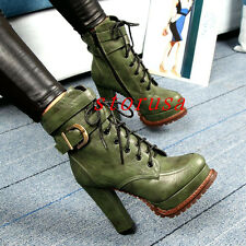 Women High Block Heel Platform Ankle Boots Shoes Platform Motocycly Boots Knight