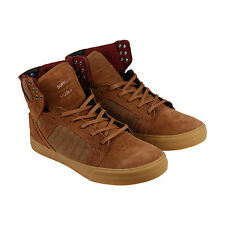 Supra Skytop Mens Brown Leather High Top Lace Up Sneakers Shoes