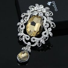 Elegant Vintage Multicolor Women Wedding Party Rhinestone Glass Brooches Pins