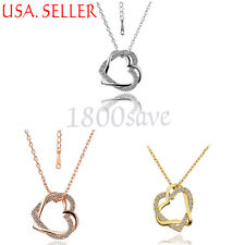 18K White/Rose/Yellow Gold Filled double Heart Crystal Pendant+Necklace Chain