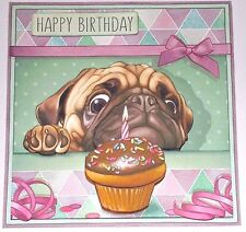 Handmade Greeting Card 3D Birthday With A Dog And A Cupcake