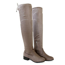 Plus Size Wide Calf Micro Suede Stretch Over The Knee Thigh-High Boots Taupe