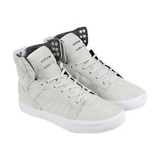 Supra Skytop Mens Grey Suede High Top Lace Up Sneakers Shoes
