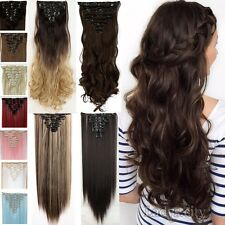 Mega THICK 8Pcs Clip in Hair Extensions Full Head Gray Brown Blonde Girl Hair Ty