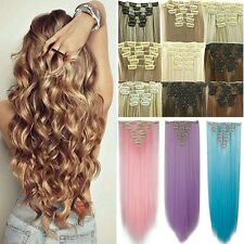 Hot Cheap Thick Full Head Clip in Hair Extensions Long Ombre Brown As Human FZ36