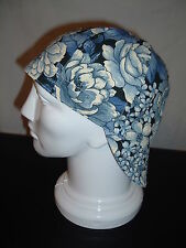 Welding Hat Welders Cap Pipe Fitter Cap - Blue and White Floral - Painters Hat
