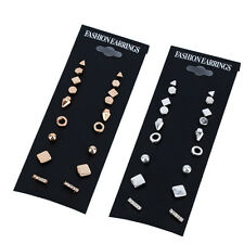New 9Pairs Punk Square Triangle Round Crystal Ear Stud Unisex Earrings Xmas Gift