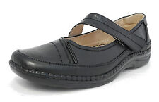 Womens Ladies X Wide EEE Fit Leather Lined Shoes Velcro Black Size 3 4 5 6 7 8 9