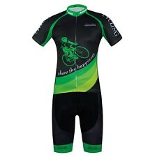 Aogda Achiever Cycling Set Mens Reflective Cycle Jersey & (Bib) Shorts Kit Green
