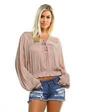 Boutique Boho Peasant Top Blouse Long Sleeves Cropped Style Beige Lace