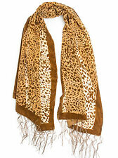 Tyra Scarf - Silk Leopard Pattern Velvet Burnout Scarf with Fringe Ends