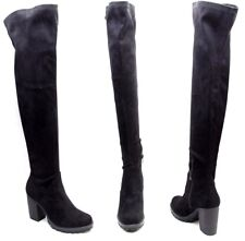 Women Ladies Faux Suede Leather Over Knee Boots Shoes Block Heel Chunky Platform