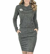 Fashion women lady dress autumn winter long sleeve party sweater casual