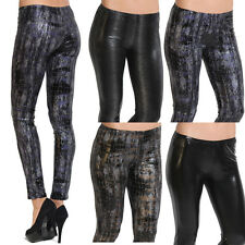 TheMogan Faux Leather Leggings Wet Look Coated Shiny Dance Moto Skinny Pants