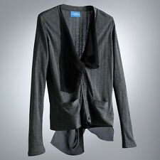 Womens Gray Chiffon Ribbed Cardigan Sweater Vera Wang Petite S M L XL NEW $48