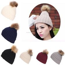 Women Winter Warm Braided Crochet Knitting Hat Beanie Beret Ski Ball Cap Baggy